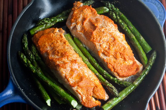 Romesco Roast Salmon over Pumpkin and Olive Grits 1