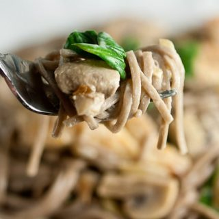 Soba Noodles with Sautéed Chicken, Mushrooms, and Spinach in Cream Sauce