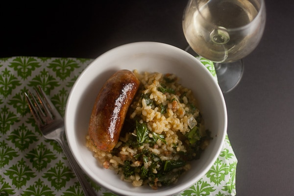 Baked risotto with sausage and kale