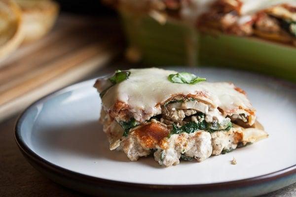 Turkey, Mushroom & Spinach Lasagna 1
