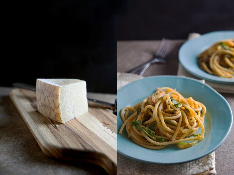 pasta with pumpkin creme sauce diptych
