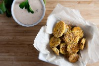 healthy-delicious_oven fried pickles with southwest ranch