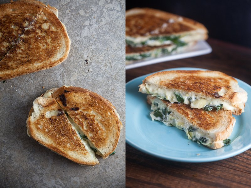 spinach and artichoke grilled cheese from Healthy-Delicious.com
