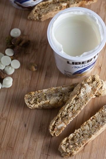 pistachio and white chocolate biscotti from healthy-delicious.com