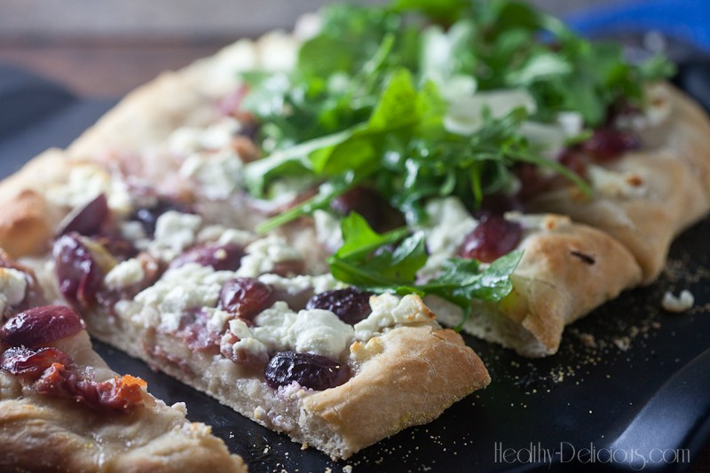 Roast Grape and Goat Cheese Flatbread from Healthy-Delicious.com