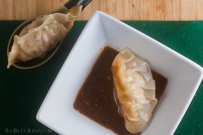 chicken bacon scallion potstickers with dipping sauce