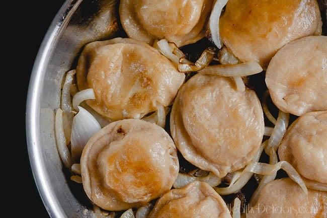 whole wheat cauliflower and potato pierogi from Healthy-Delicious.com