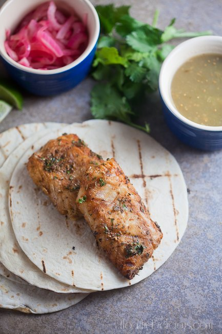 Grilled FIsh Tacos with Spicy Pickled Onions | Healthy. Delicious.