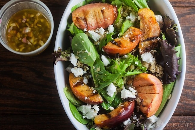 Grilled Peach Salad with Jalapeno Vinaigrette