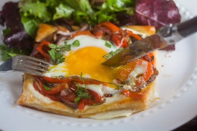 roasted red pepper and egg tart