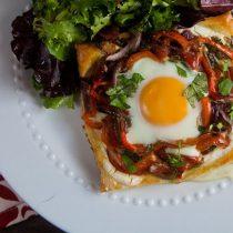 roasted red pepper and egg tart