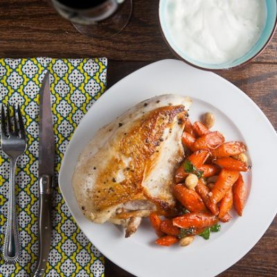 Pan Roast Chicken with Carrots and Almonds