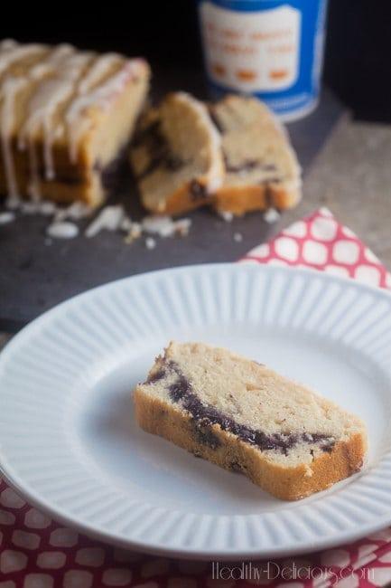 Blueberry-Lavender Coffee Cake with Lemon Glaze   healthy-delicious.com