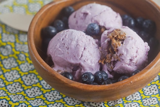 blueberry cheesecake frozen yogurt with a Biscoff swirl
