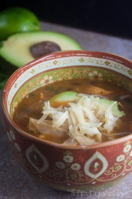 Easiest Ever Chicken Tortilla Soup   Healthy-Delicious.com