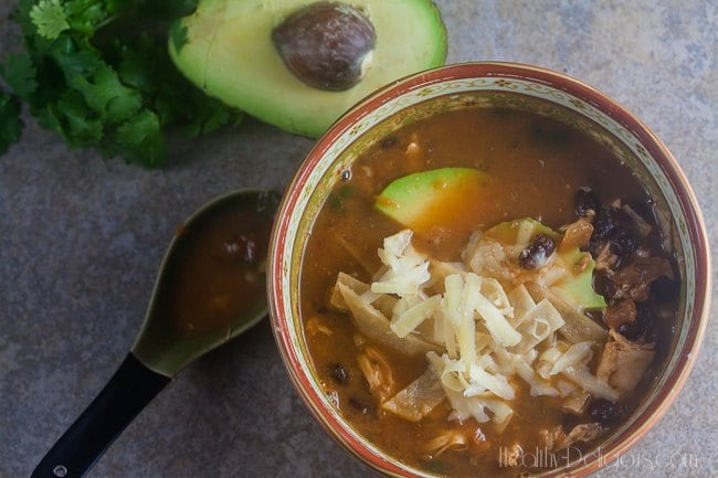 Easiest Ever Chicken Tortilla Soup | Healthy-Delicious.com