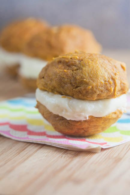 Pumpkin Whoopie Pies with Bourbon Filling from @HealthyDelish