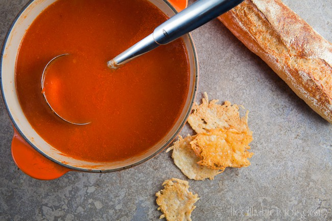 Roasted Red Pepper Bisque with Asiago Crisps