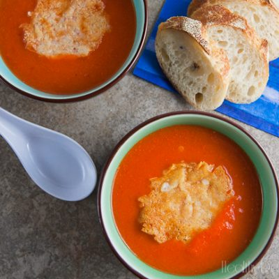 Red Pepper Bisque with Asiago Crisps {#PepperParty}
