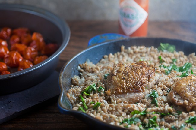 Chicken and Farro with Burst Tomatoes | Healthy-Delicious.com