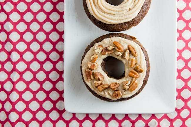 pumpkin and chocolate donuts with brown butter buttercream