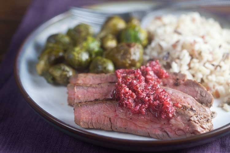 Coffee Rubbed Flank Steak with Cranberry Salsa from @HealthyDelish