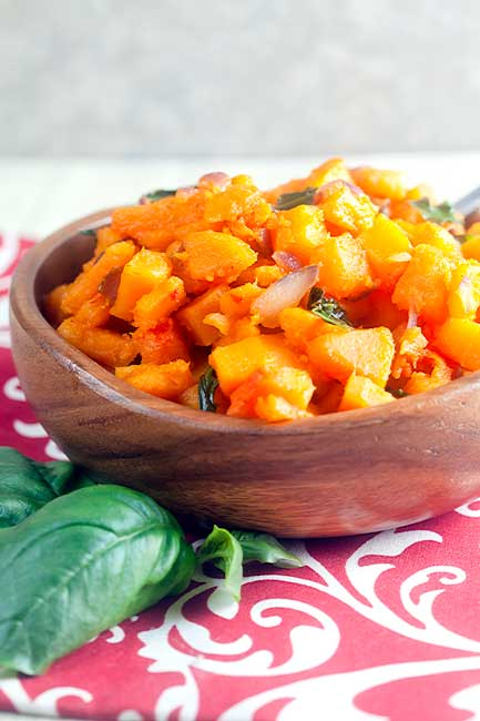 Thai Red Curry Squash with Basil from @HealthyDelish