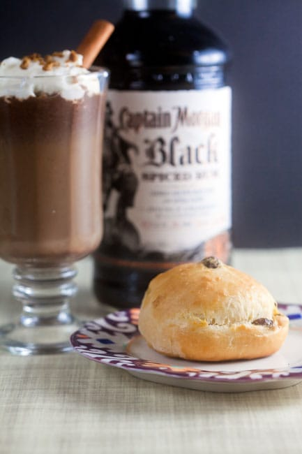 Spiked Hot Chocolate and Rum Raisin Rolls