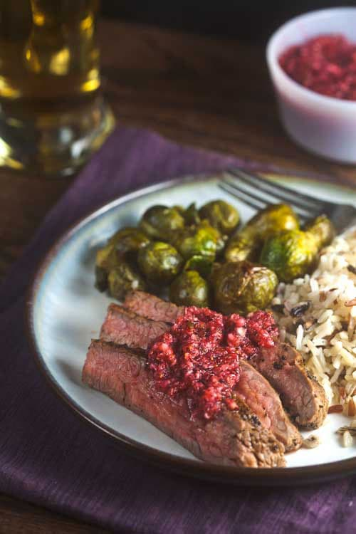 Coffee Rubbed Flank Steak with Cranberry Salsa. Great for the holidays!