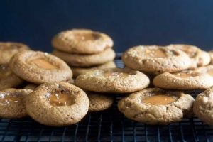 salted caramel gingerbread thumbprint cookies   Healthy-Delicious.com