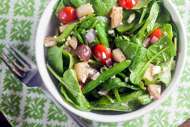 Spinach Salad with Potatoes, Olives, and Feta