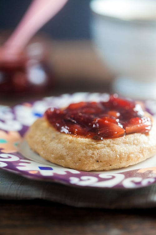 Homemade Crumpets with Strawberry Balsamic Jam   @HealthyDelish