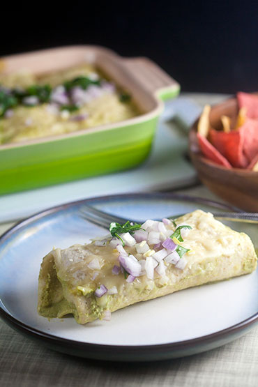 Chicken Enchiladas with Poblano Sauce | @HealthyDelish