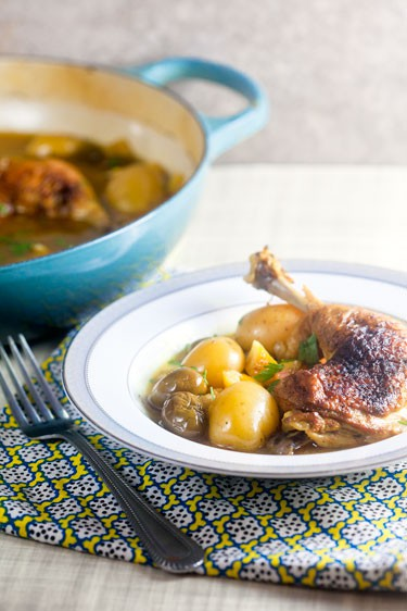 Lemon Chicken with Olives and Potatoes | @HealthyDelish