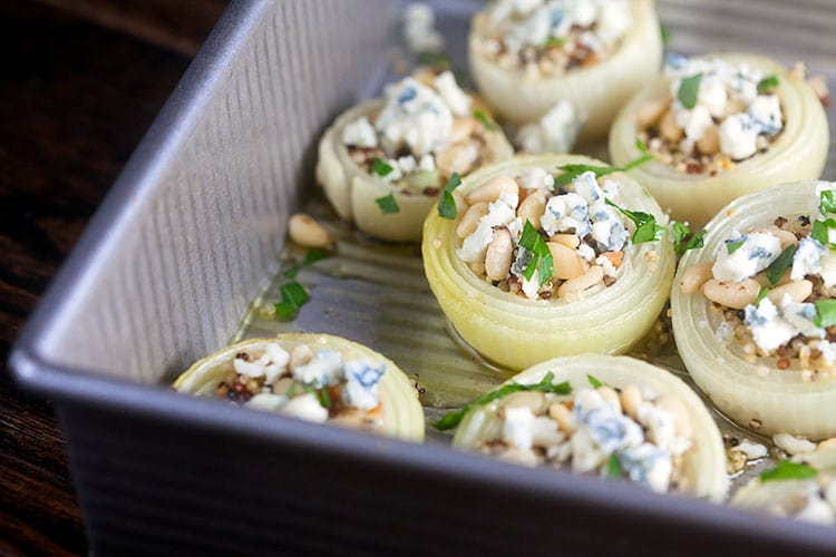 Roast Onions with Quinoa, Gorgonzola, and Pine Nuts   @HealthyDelish