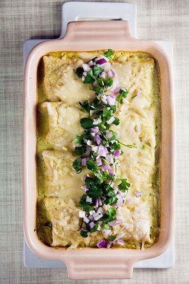Chicken Enchiladas with Poblano Sauce | @HealthyDelish