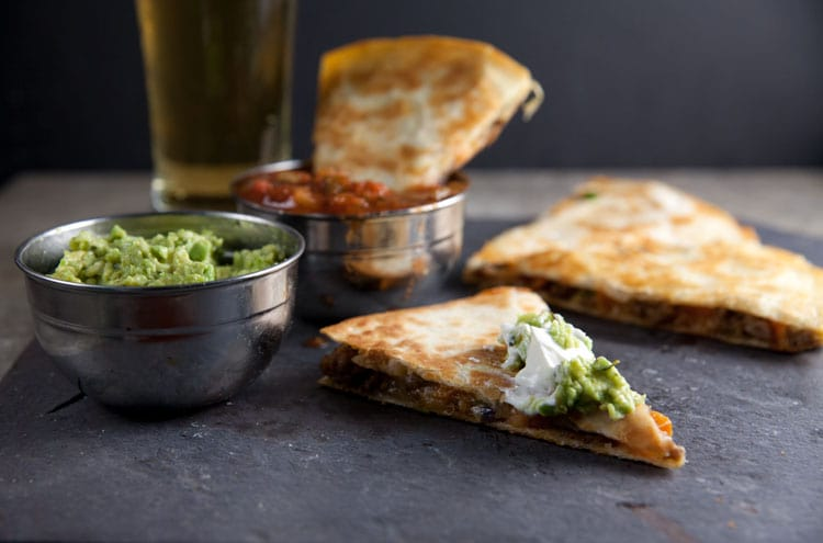 Sweet Potato and Sausage Quesadillas // @HealthyDelish