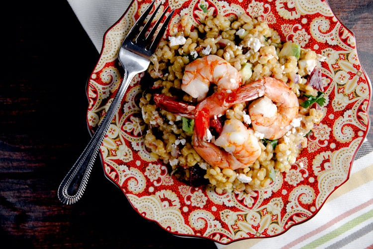 Warm Barley Salad with Roast Shrimp and Blood Orange Vinaigrette // @HealthyDelish