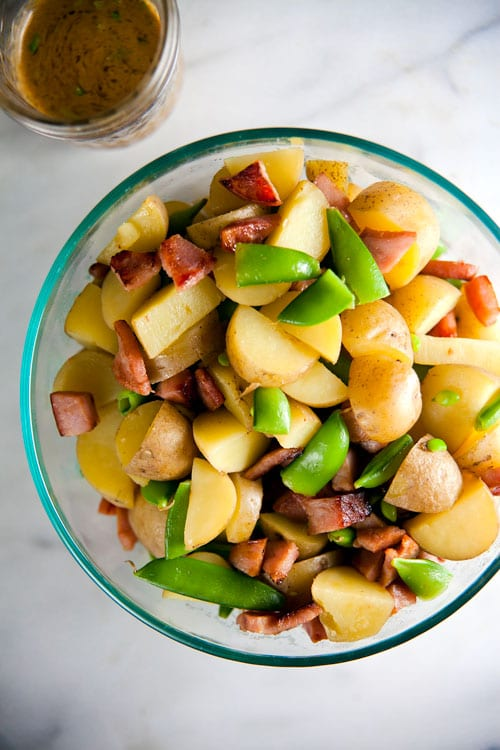 Dijon Potato Salad with Crispy Ham // @HealthyDelish