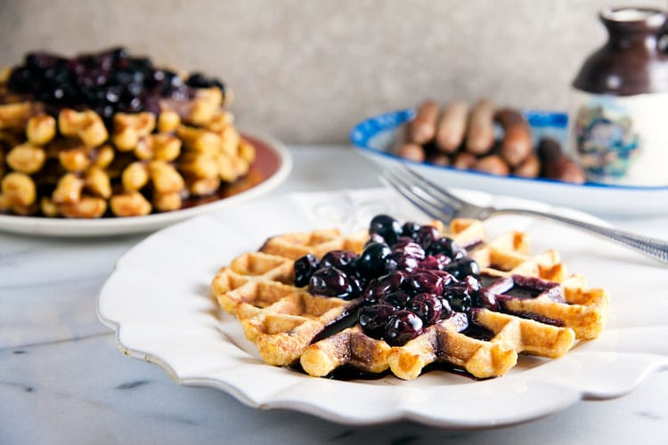 Sweet Corn Waffles with Blueberry-Bourbon Sauce 5