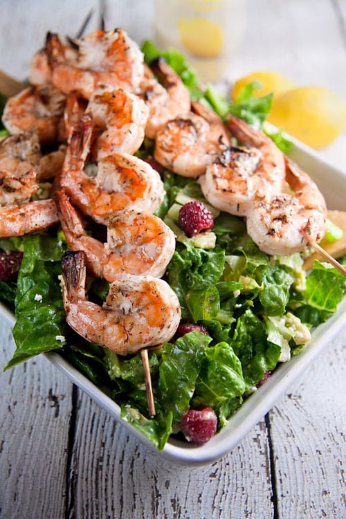 Grilled-Shrimp-Salad-with-Raspberries-and-Avocado