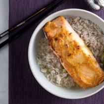 Miso Glazed Salmon with Green Tea-Ginger Broth // @HealthyDelish