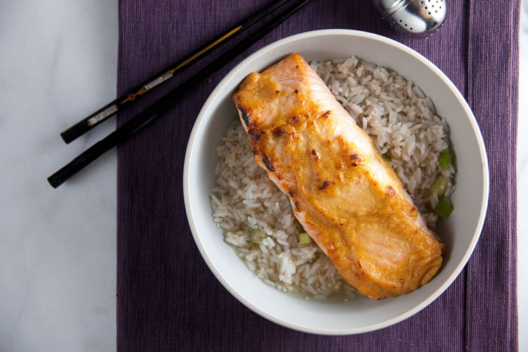 Miso Glazed Salmon with Green Tea-Ginger Broth // @HealthyDelish