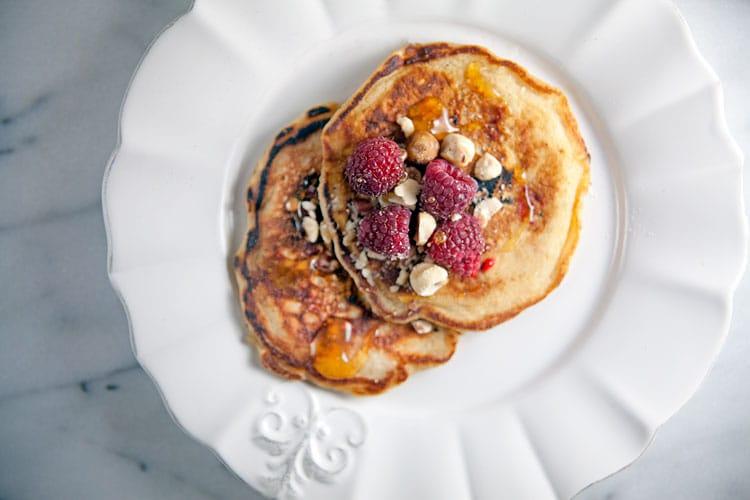 Raspberry Oatmeal Pancakes with Hazelnuts // @HealthyDelish