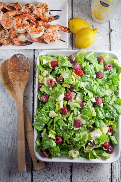 Raspberry-and-Avocado-Salad-with-Grilled-Shrimp