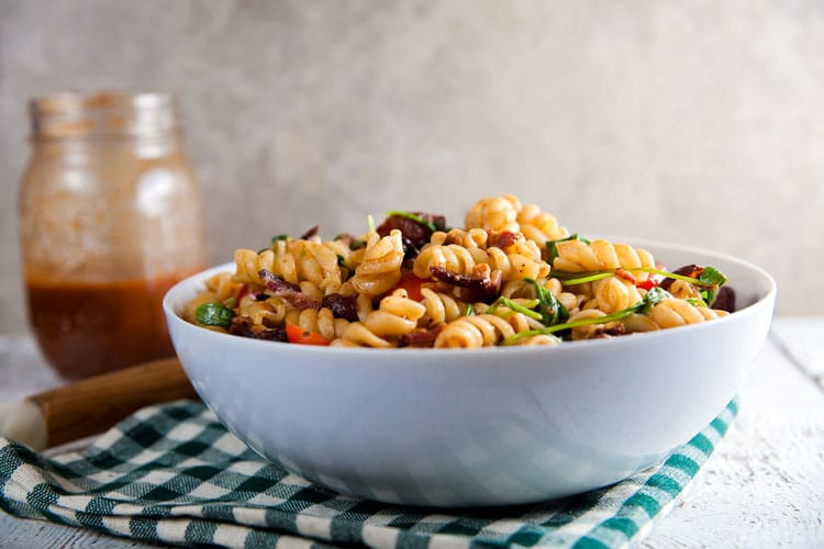 BLT Pasta Salad with Smoked Tomato and Bacon Vinaigrette // @HealthyDelish