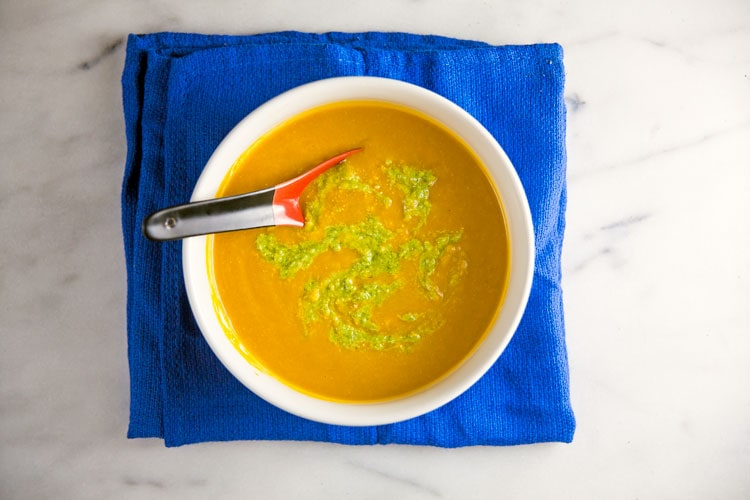 Chilled Carrot and Roasted Cumin Soup with Scape-Pistachio Pesto {vegan} // @HealthyDelish