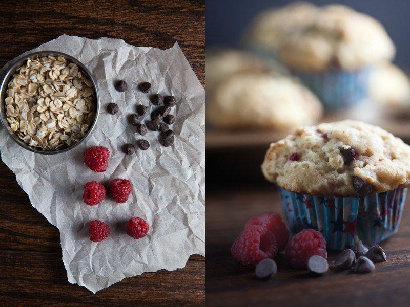 Bakery Style Raspberry Dark Chocolate Muffins