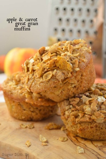 Apple Carrot Great Grain Muffins from Sugar Dish Me. Photo used with Permission.