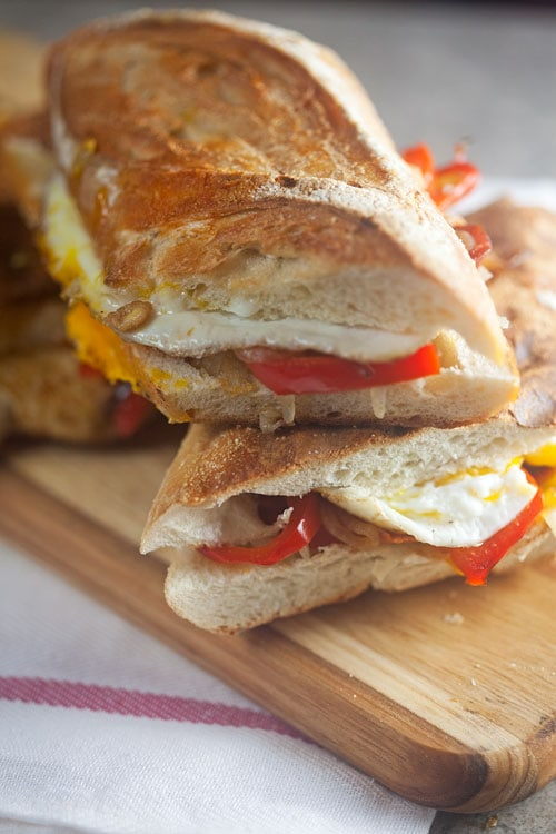 Spanish Breakfast Panini with Chorizo and Egg // @HealthyDelish